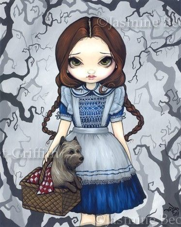 Dorothy and Toto Wizard of Oz cairn terrier fairy tale gothic fantasy art print by Jasmine Becket-Griffith 8x10