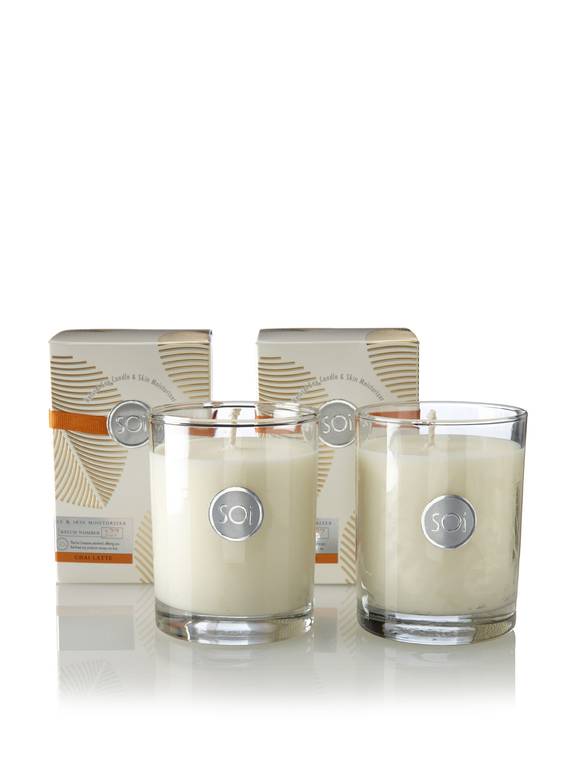 The Soi Co. Set of (2) 13.5-Oz. Luxe Box Candles, Chai Latte Hand-poured soy wax in glass vessel; scent notes: An exotic blend of Indian spices, with clove and a hint of vanilla; 90-hour burn time Home #HomeAccessories