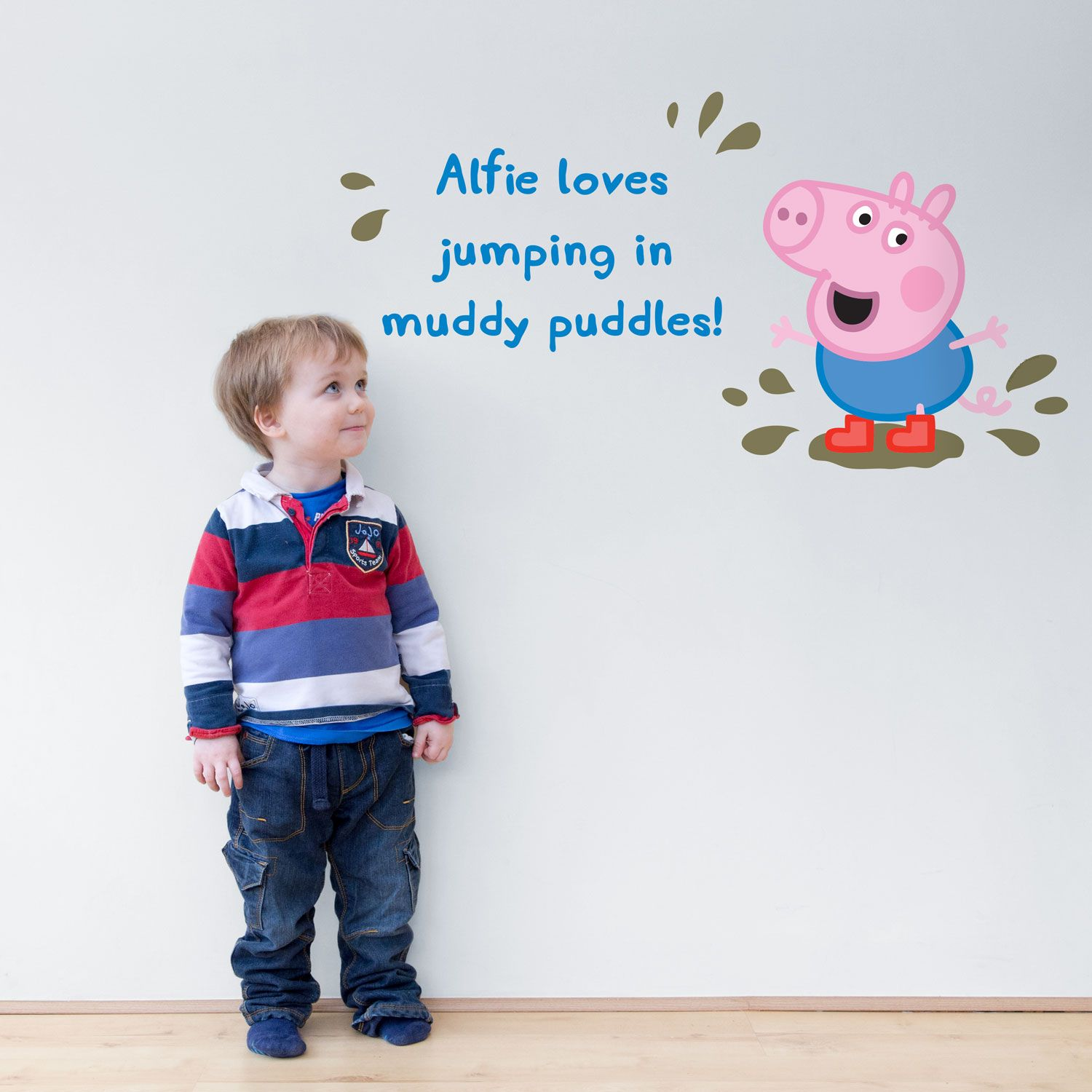 Personalised in muddy puddles wall sticker Peppa