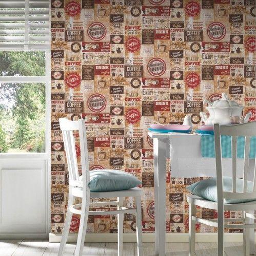 Tapete Kaffee Küche Bistro Vintage rot AS Creation 33480-1 Küche - tapeten für die küche