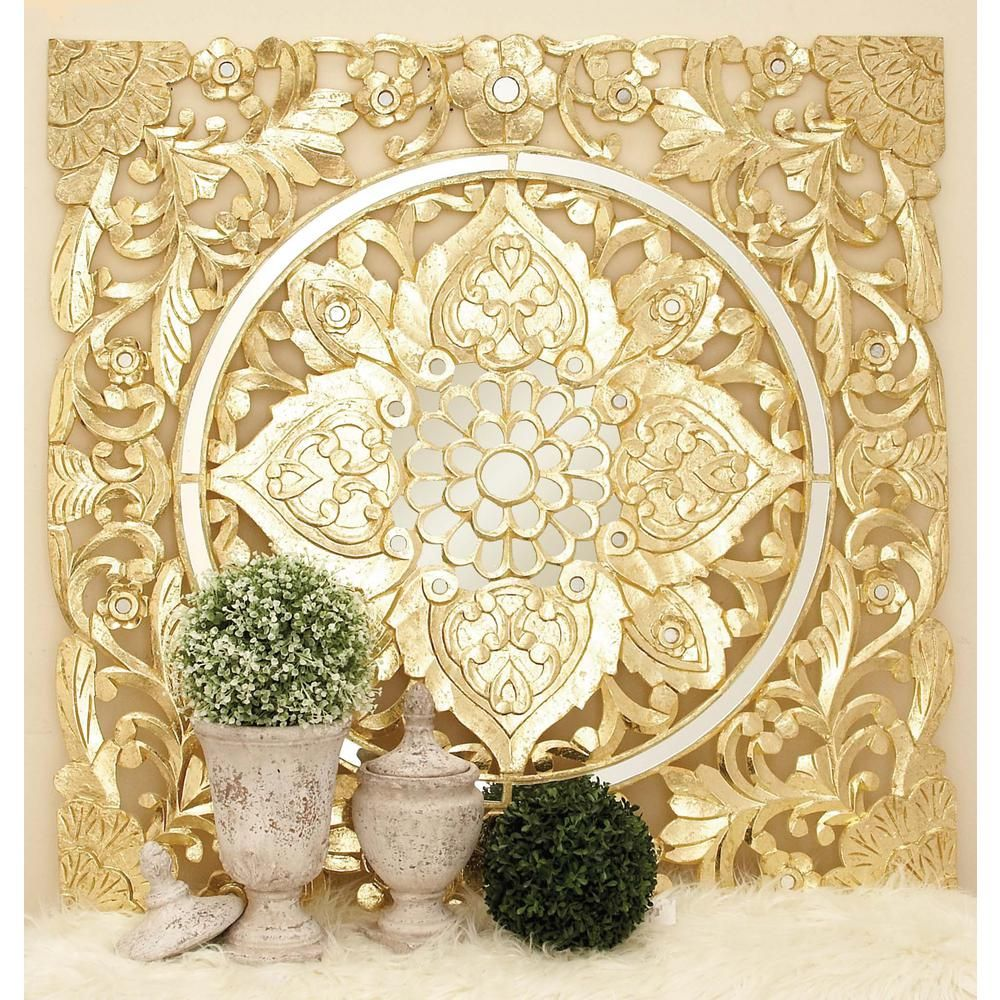 47 in. x 47 in. Decorative Filigree-Patterned Wood and Mirror Wall ...