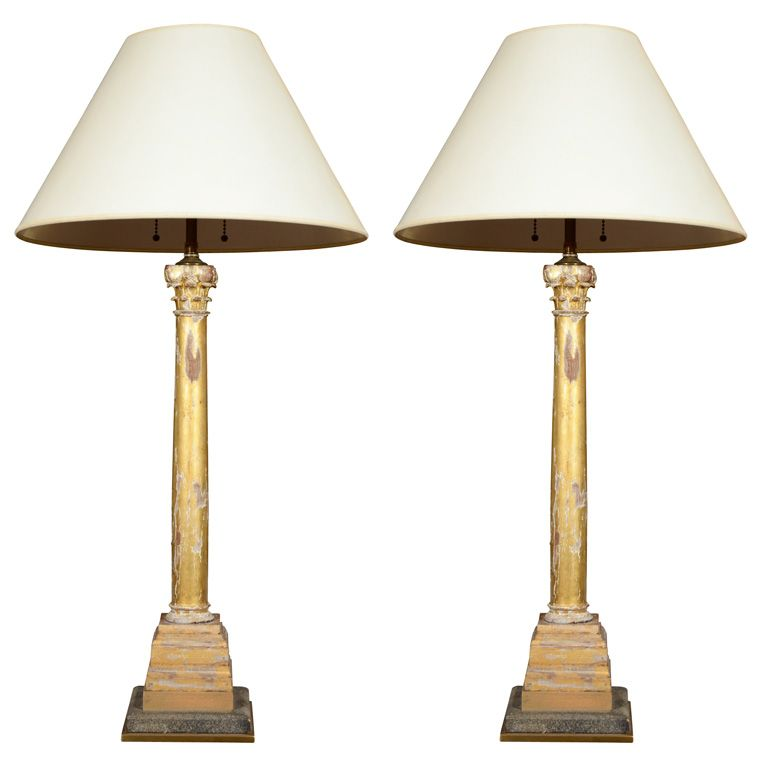 Pair Of Giltwood Lamps In The Form Of Corinthian Columns Lamp Vintage Table Lamp Corinthian Column