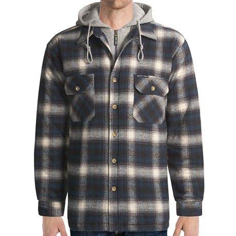 Moose Creek Quilted Hoodie Sweatshirt - Dakota II (For Men) in Black/Grey