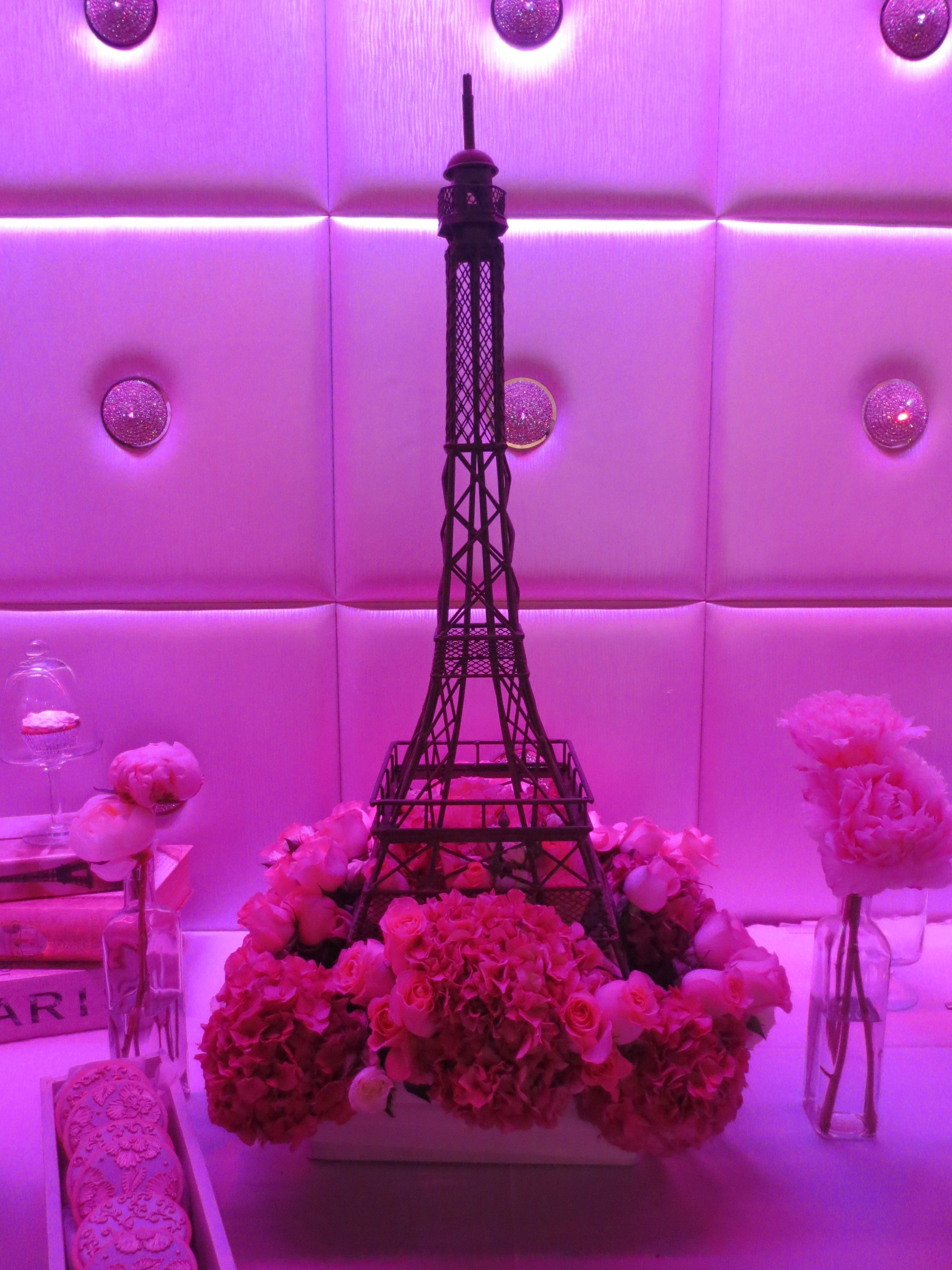 eiffel tower floral arrangement by butterfly floral design in los angeles french bridal shower paris theme