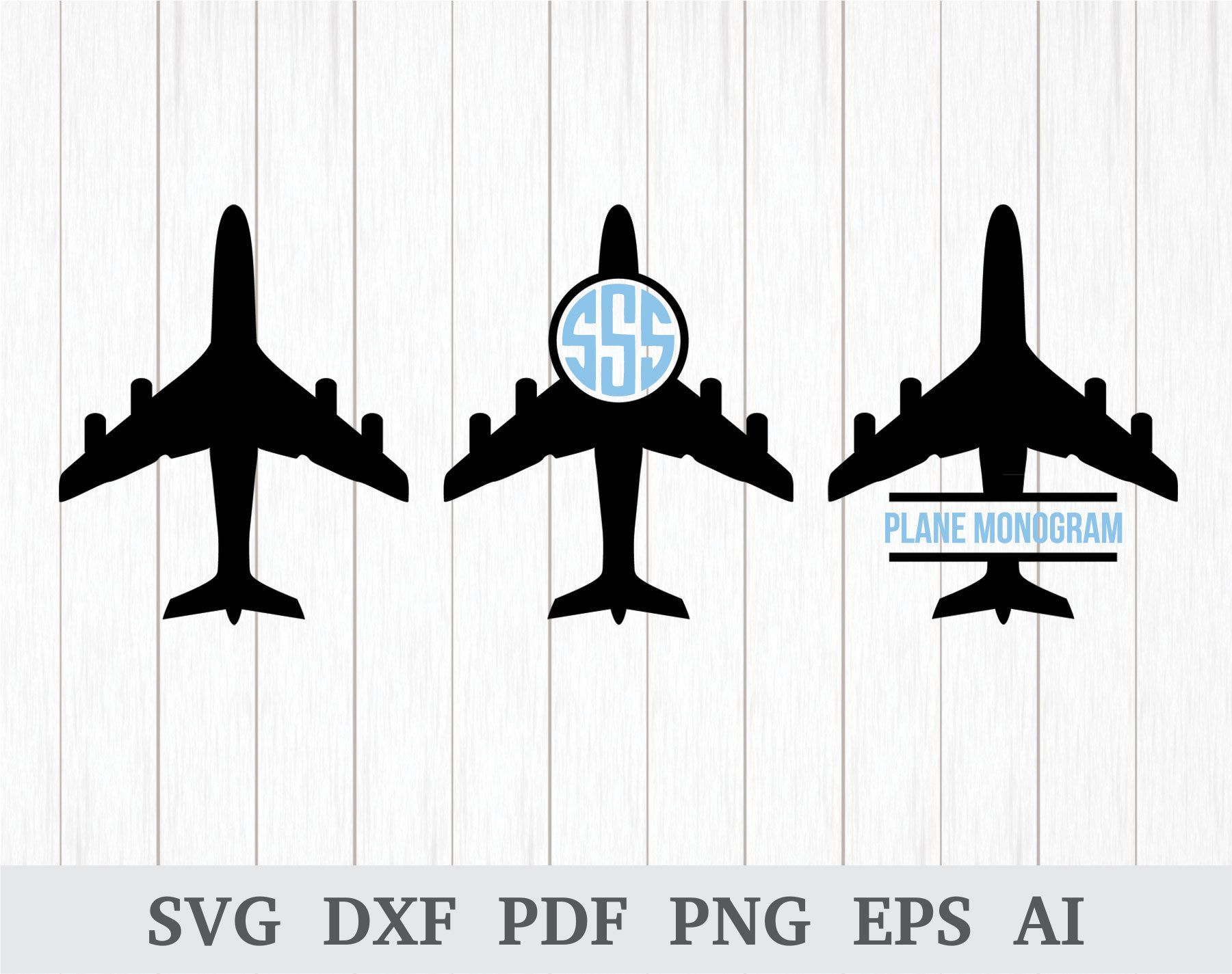 Airplane Svg Plane Svg File Airplane Monogram Svg Airplane