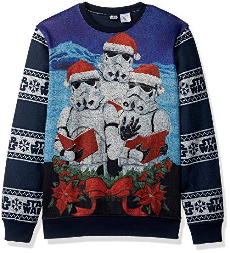 Star Wars Men\u0027s the Three Carolling Storm Troopers Holiday Pullover