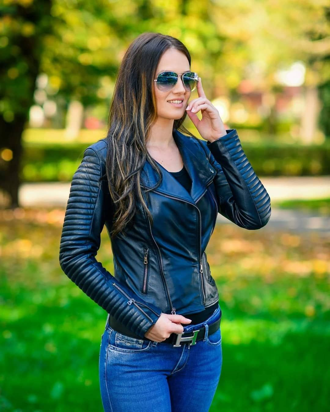 Woman In Leather Jacket And Jeans Leather Jacket Black Leather Jacket Girl Leather Outfit [ 1350 x 1080 Pixel ]