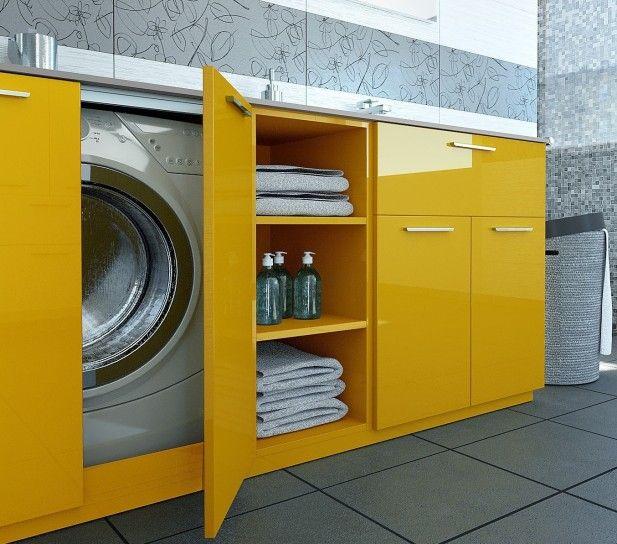 Bagno piccolo con lavatrice mobile per nascondere la - Mobile lavatrice asciugatrice ikea ...