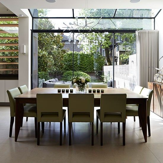 Open Plan Dining Room With Glass Doors