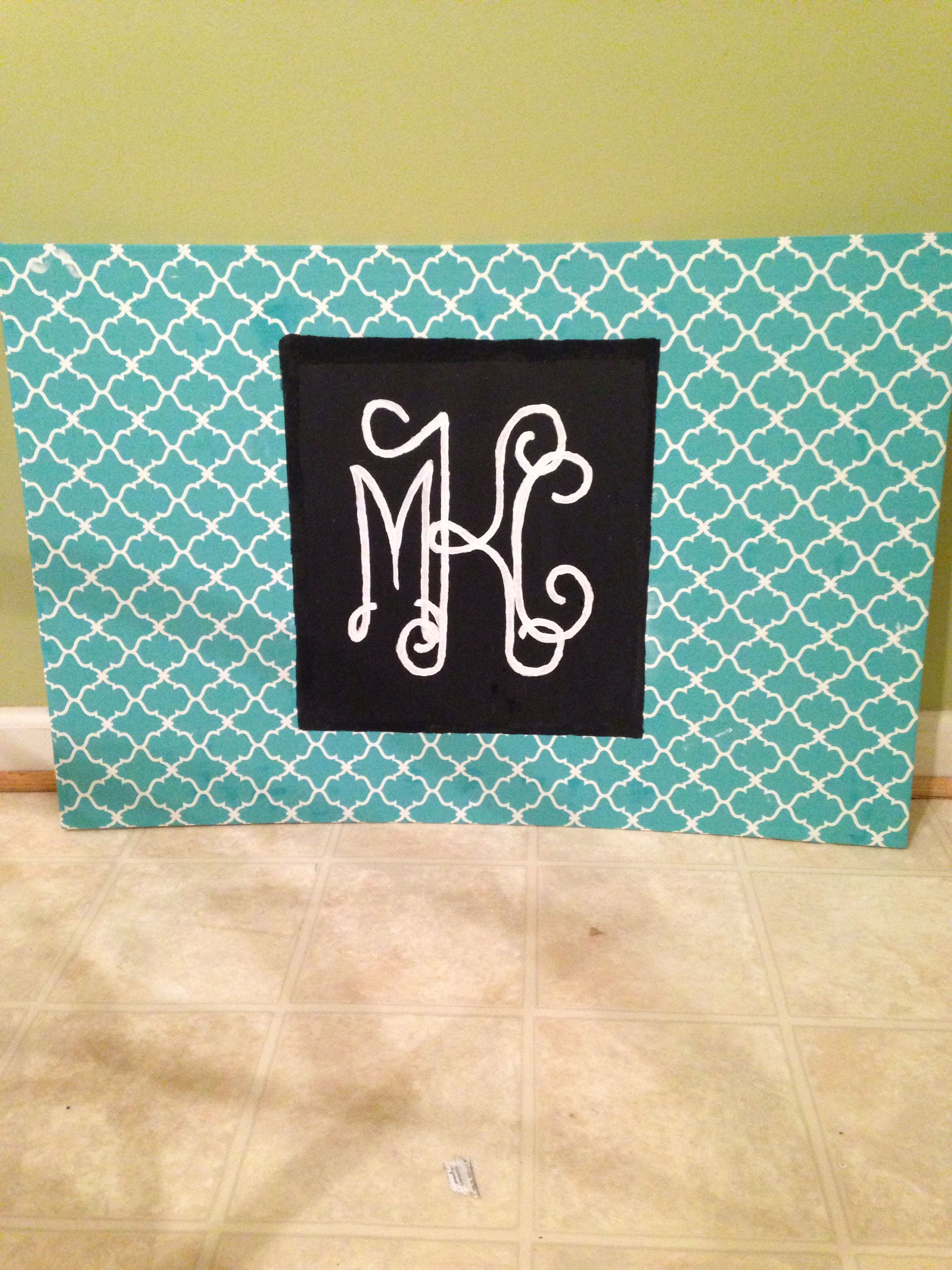 Diy headboard covered in fabric with hand painted monogram a room