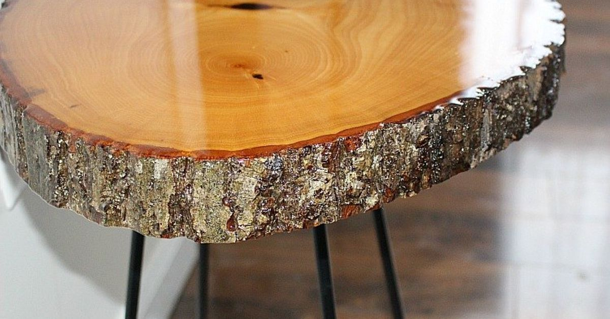 I Will Be Sharing A Diy Resin Wood Slice Side Table This Was My