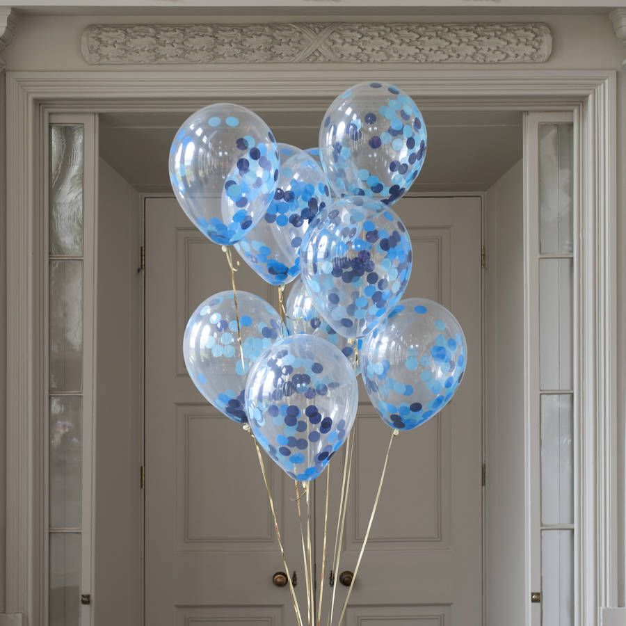 Paper Cut Out Blue Balloons First Birthday Decoration: Pack Of 14 Peacock Blue Confetti Balloons In 2019