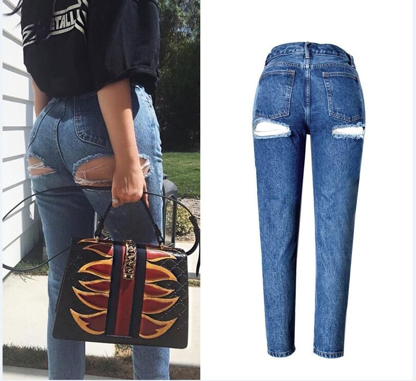 7b1151d863c 2017 New Sexy Hip Line Hole Ripped Jeans Woman Plus Size High Waist Slim  Straight Jeans