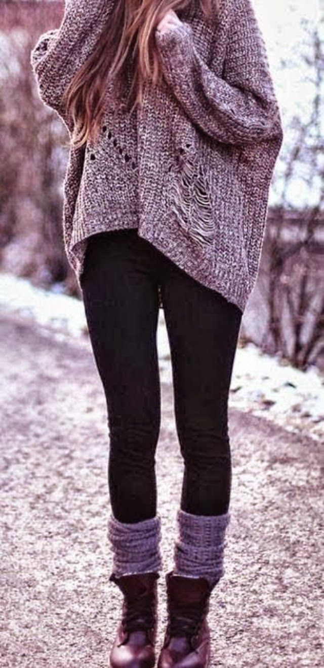 Sweater and Leggings Outfits | ... Black Leggings with warm baggy ...