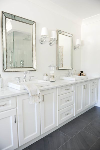 White bathroom: http://www.stylemepretty.com/living/2014/03/24/the-doctors-closet-home-tour/ | Photography: Tracey Ayton - http://traceyaytonphotography.com/