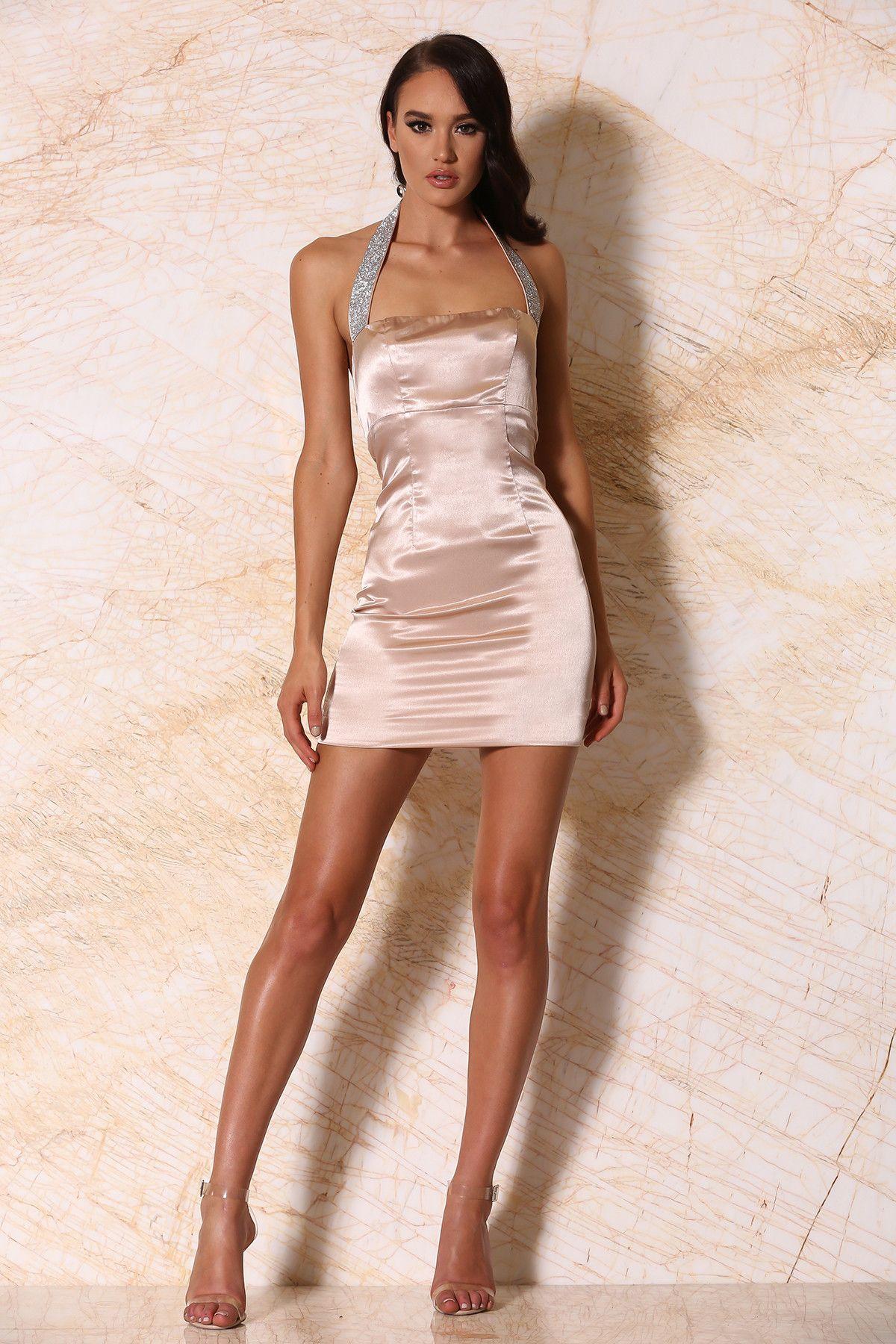 Calista Satin Halter Mini Dress - Blush   Mini dresses, Satin and Minis