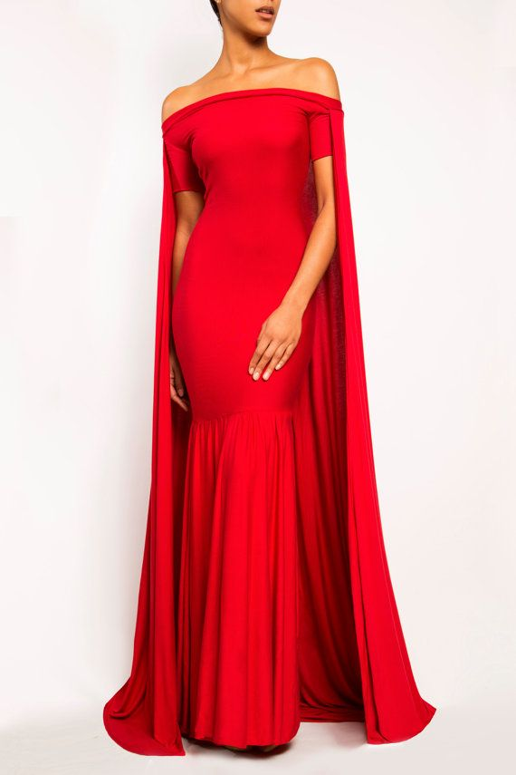 ANGELINA - Long Cape Dress Gown - Train Prom Evening Red Carpet ...