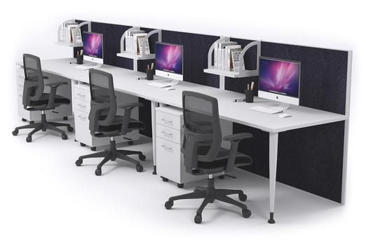 3 Person Workstation Run Desks With Acoustic Screens White Leg