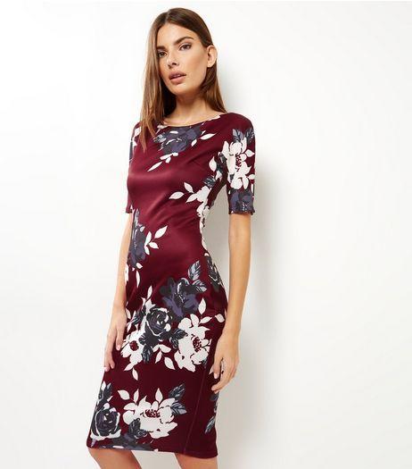 6a9281da896 AX Paris Burgundy Floral Print Midi Dress