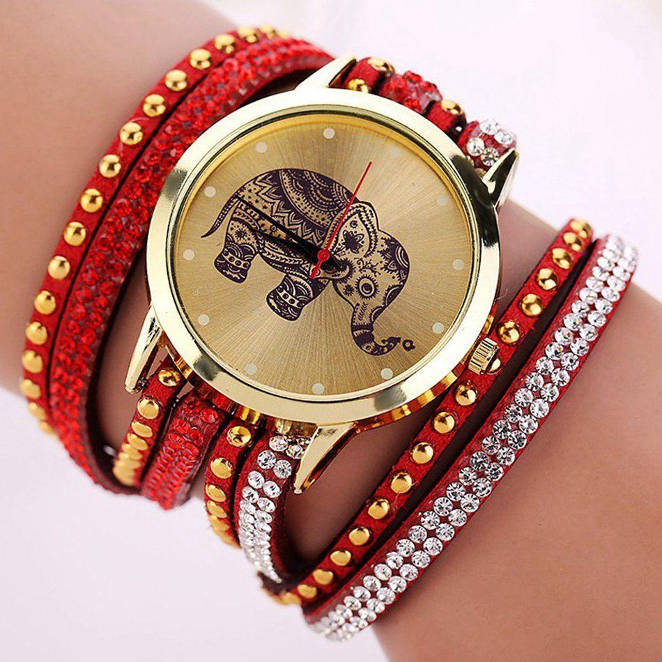 c05bd3070ca New Popular Fashion Elephant Pattern Bracelet Watches Watch Women Dress  Classical Jewelry Quartz Wristwatch XR955