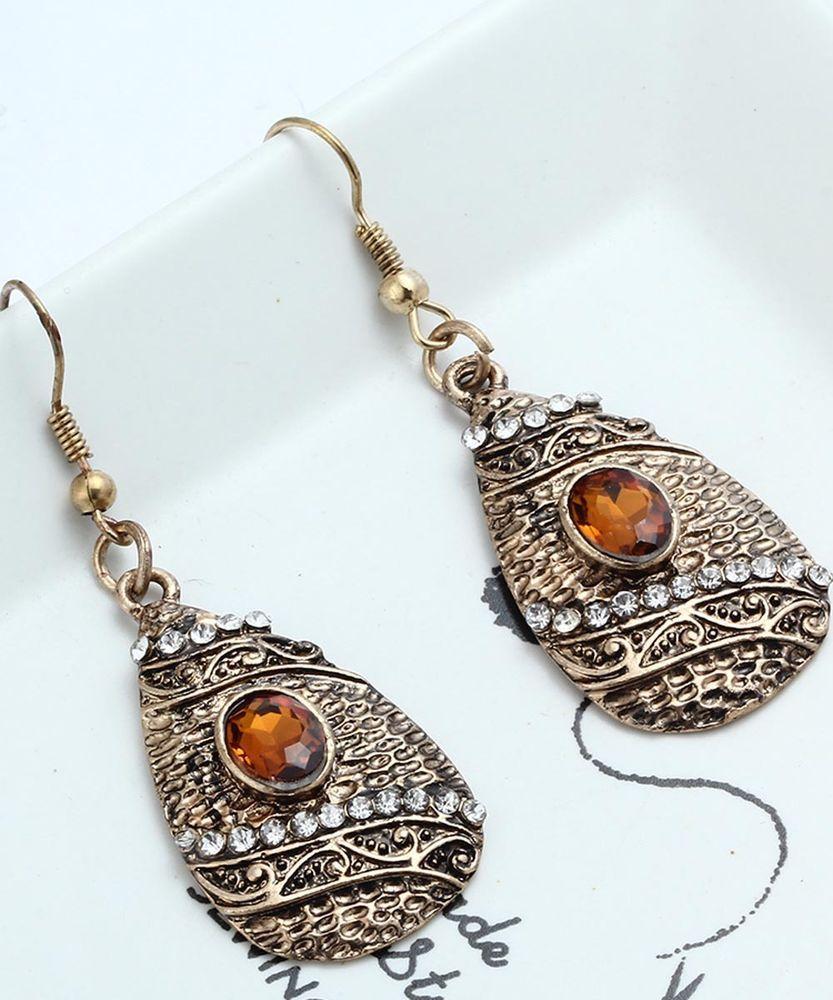 1 Pair Elegant Orange Crystal Rhinestone Ear Drop Dangle Stud Long Earrings  249