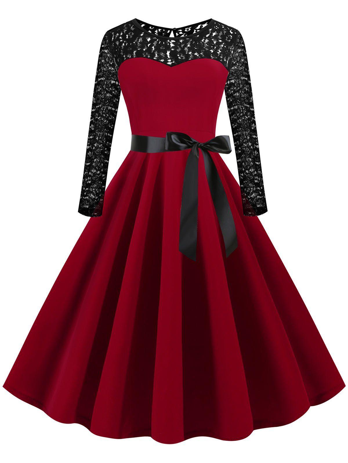 Lace Panel Long Sleeve Plus Size Vintage Dress Long Sleeve Vintage Dresses Vintage Dresses Plus Size Vintage Dresses [ 1596 x 1200 Pixel ]