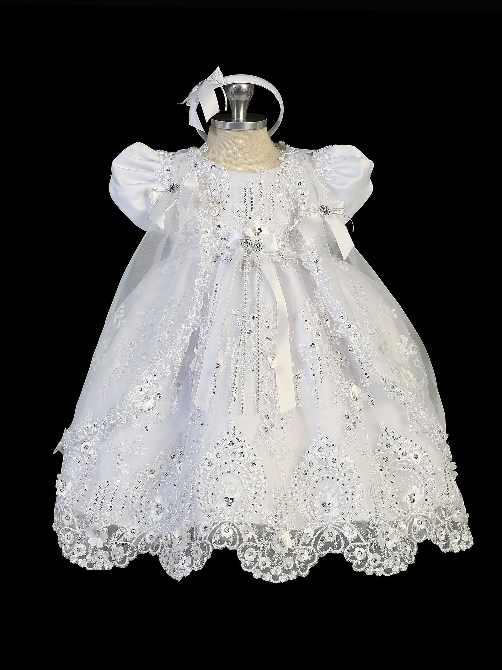7780bc04b65 Girls Baptism and Christening Style 2302 - WHITE Embroidered Satin and  Organza Sequin Lace Dress Create