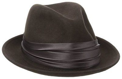 NEW BROWN Size Medium Stacy Adams Men's feathered Wool Felt Snap Brim Fedora Hat