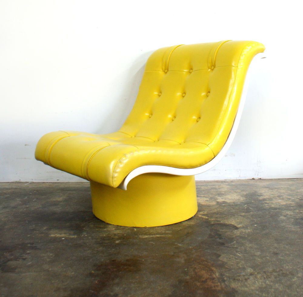 space age bright yellow tufted lounge chair vintage mid century