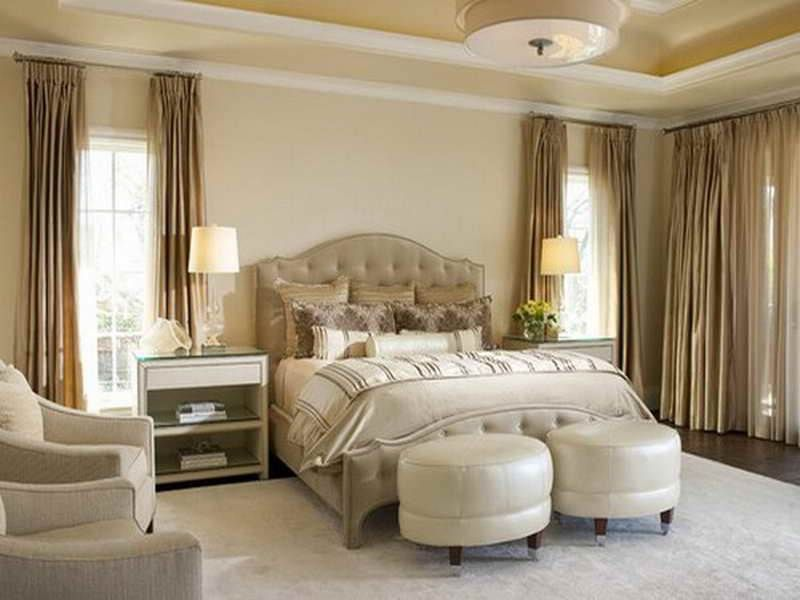 Innovative White Cornice On Luxurious Beige Themed Bedroom with