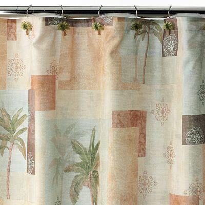 Bacova Palm Collage Shower Curtain Bathroom Fabric