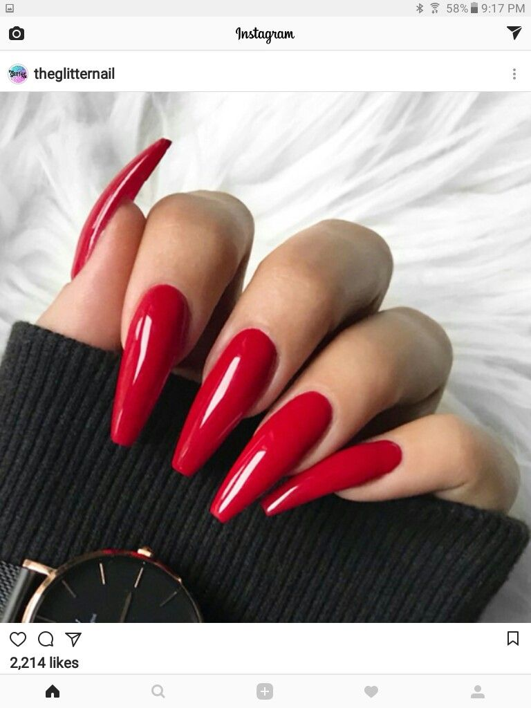 Red acrylic nails | 1. Double Team + Dynamicpunch Amazing Powerful ...