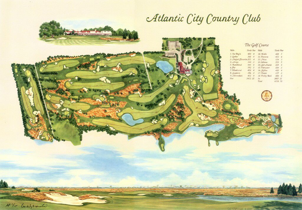 Atlantic City Country Club With Images Golf Art Sports Drawings Sports Art