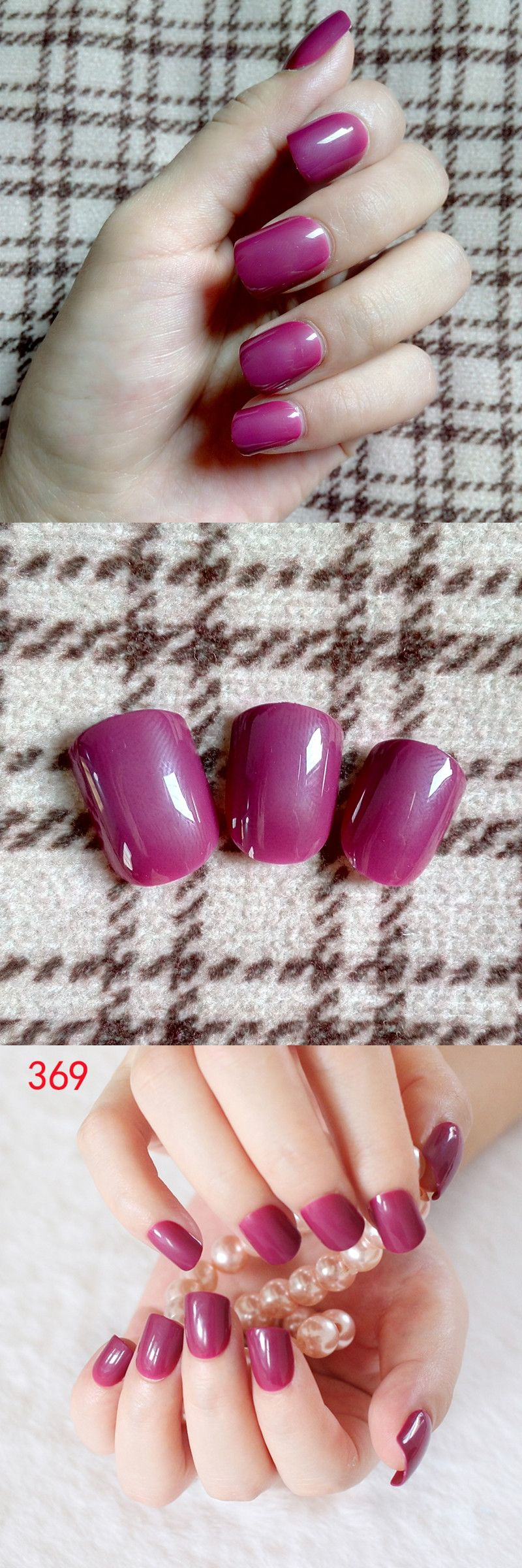 24Pcs Classic Shape Flat Fake Finger Nails Pretty Dark Rose Acrylic ...