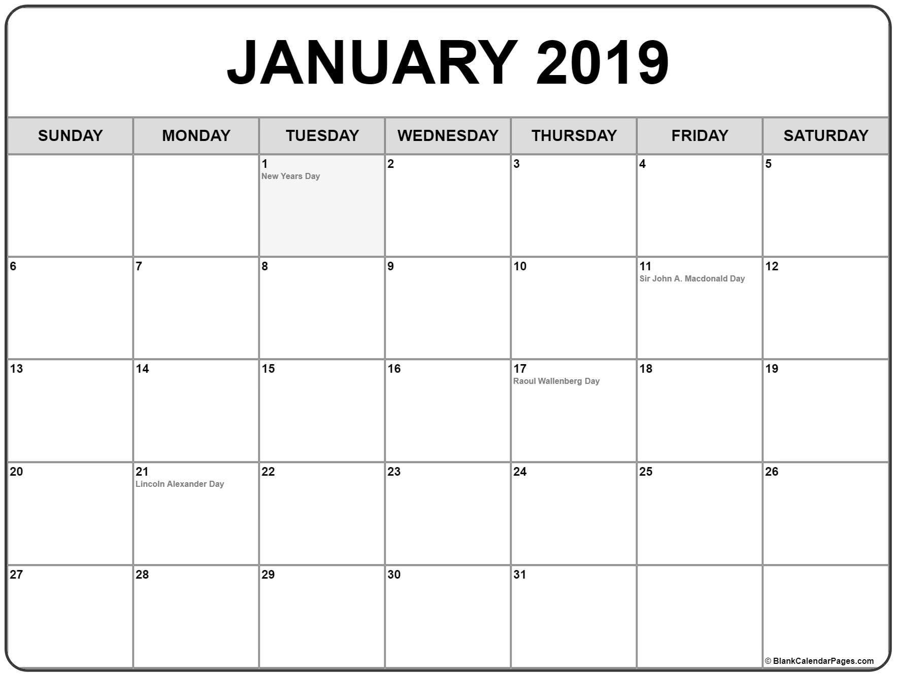 January 2019 Calendar With Canadian Holidays Calendar Printables