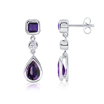 Angara Cocktail Amethyst Earrings in Yellow Gold