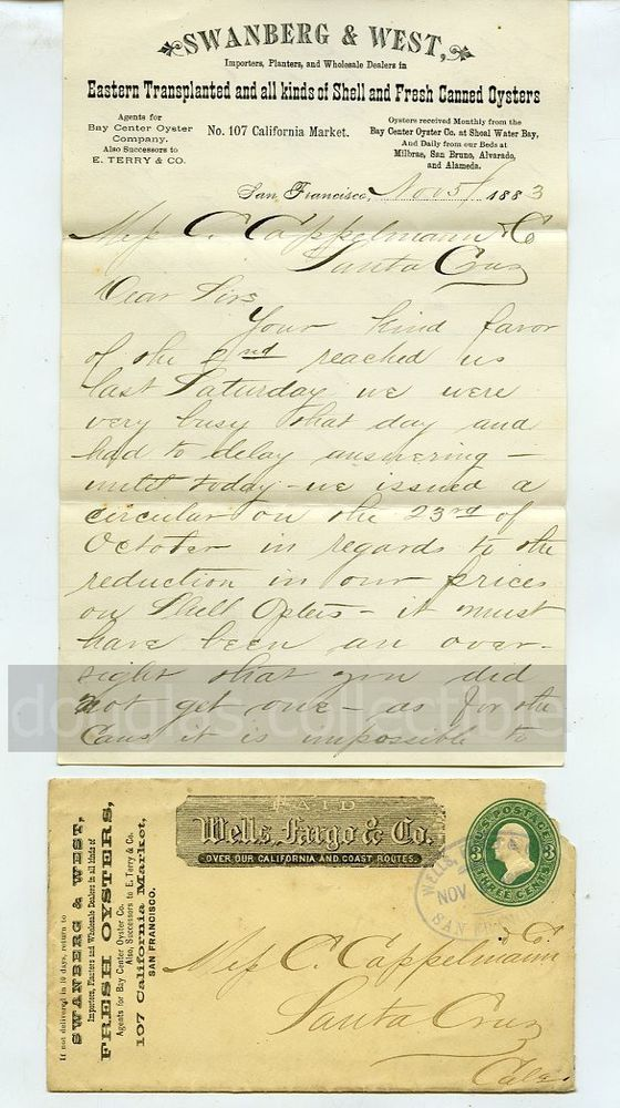 1883 Postal Cover  letter to Santa Cruz CA Swanberg  West Oysters