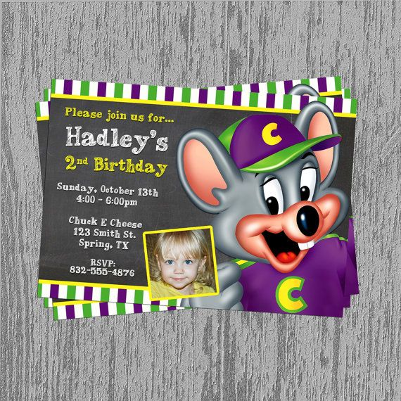 Chuck E Cheese Custom Birthday Invitation By LastingMomentsDesign - Chuck e cheese birthday invitation template