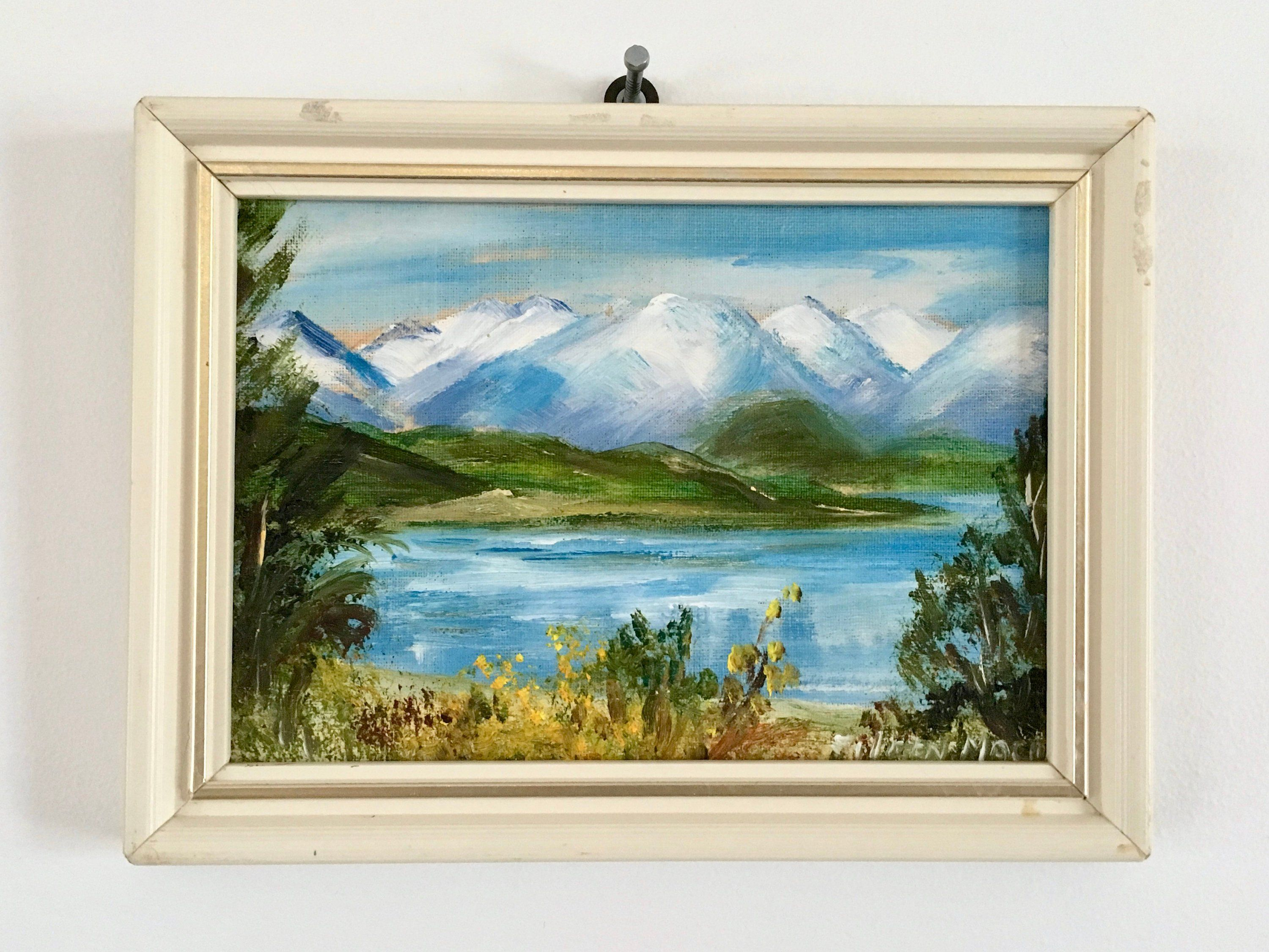 Small Original Oil Painting Of Lake Manapouri New Zealand By