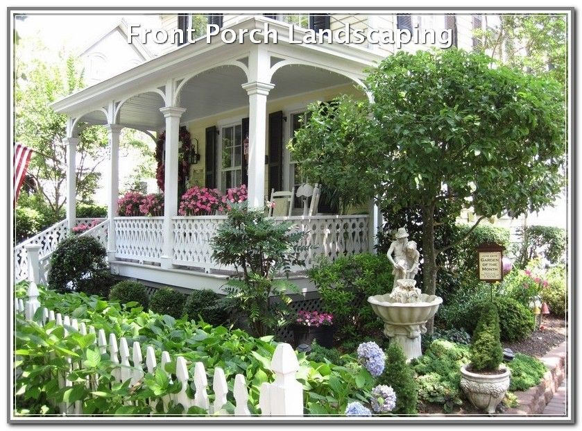 Improvised Your Landscaping With These Ideas Landscaping Lovers Victorian Gardens White Picket Fence Victorian Porch