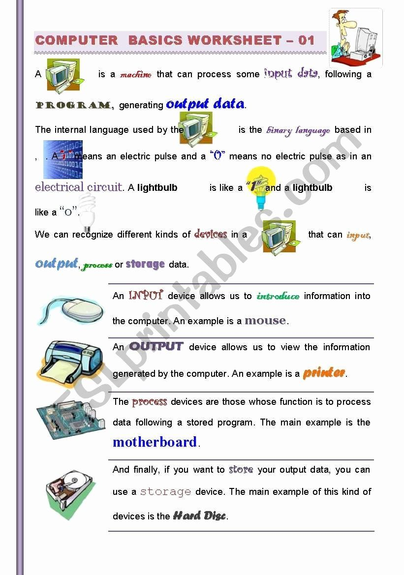 Computer Basics Worksheet Answer Key Luxury Part I 2 Puter Basics