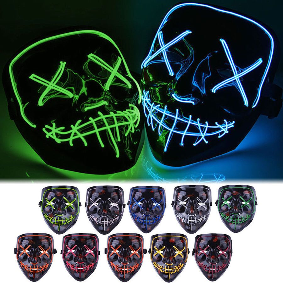 LED Light Halloween Mask Up Stitched Funny Scary Mask Costume Cosplay Party