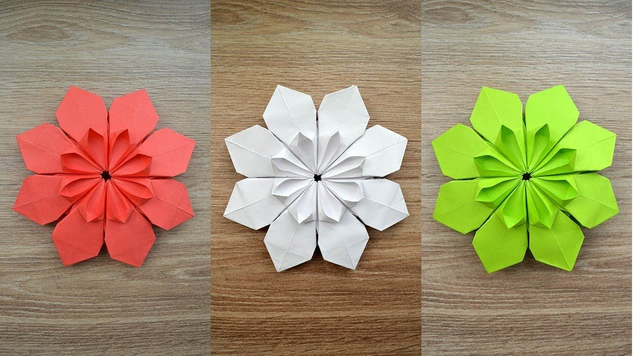 Very Beautiful Paper Flower Origami Craft Decoration Tutorial Diy