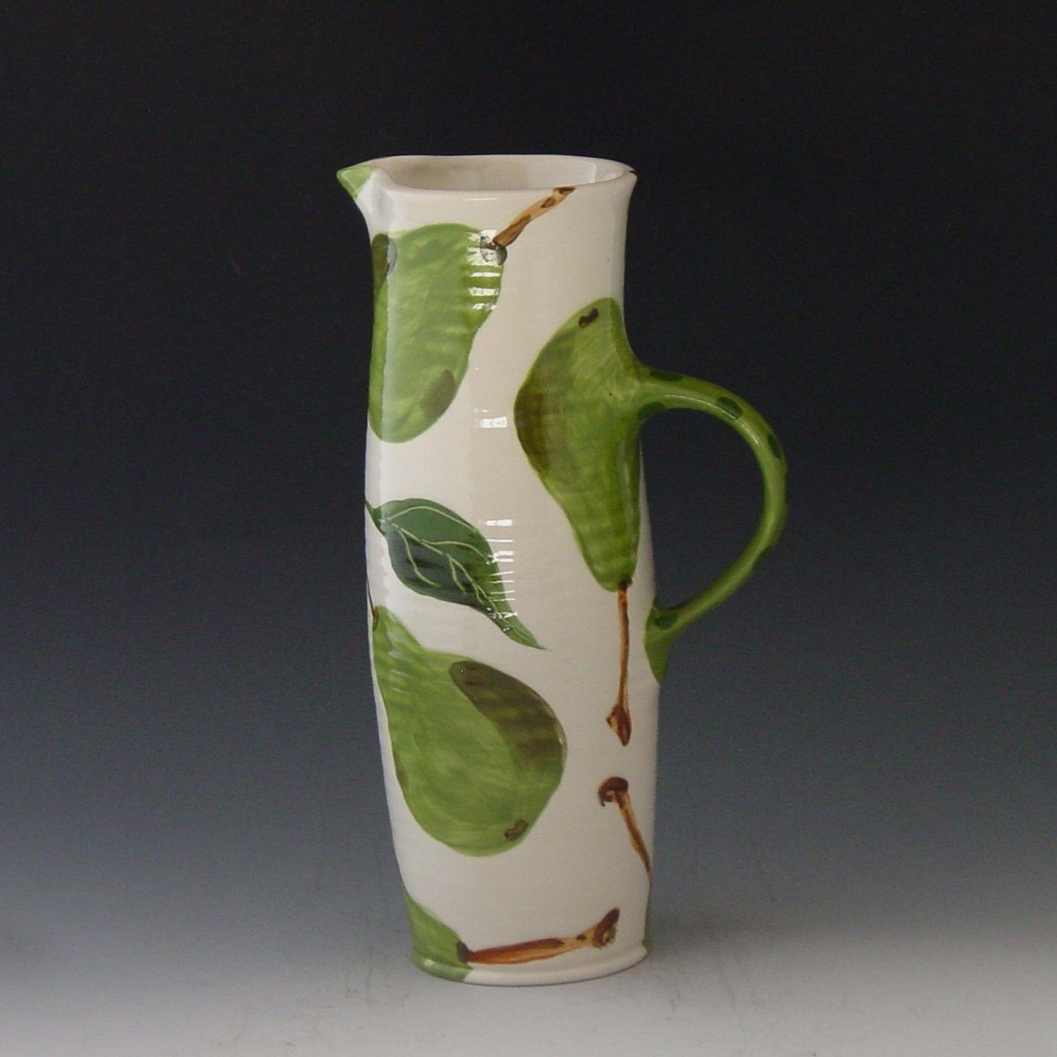 Tall Pitcher - Pear Tall Pitcher White - Handpainted Green Pear Pottery for Serving Home Decor Gift   P-361W. $57.00, via Etsy.