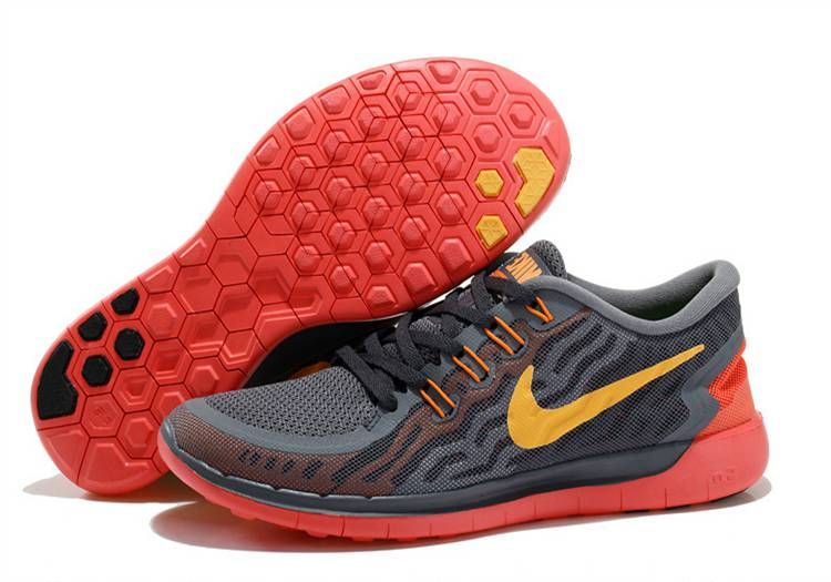 Nike Free 5.0+ 2 Womens Shoes - Carbon Gray Red Yellow