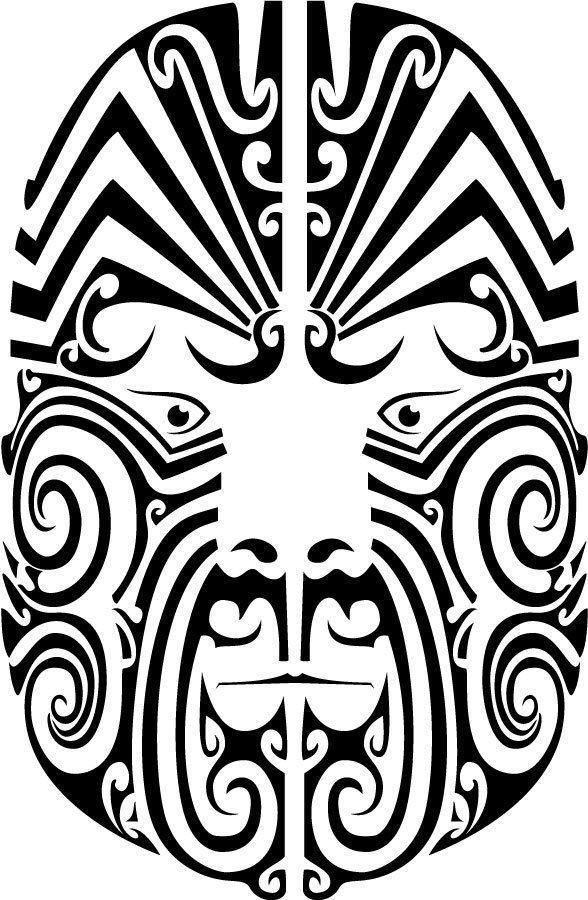 Maori Face By Vector Portal Iron On T Shirt Transfer Or