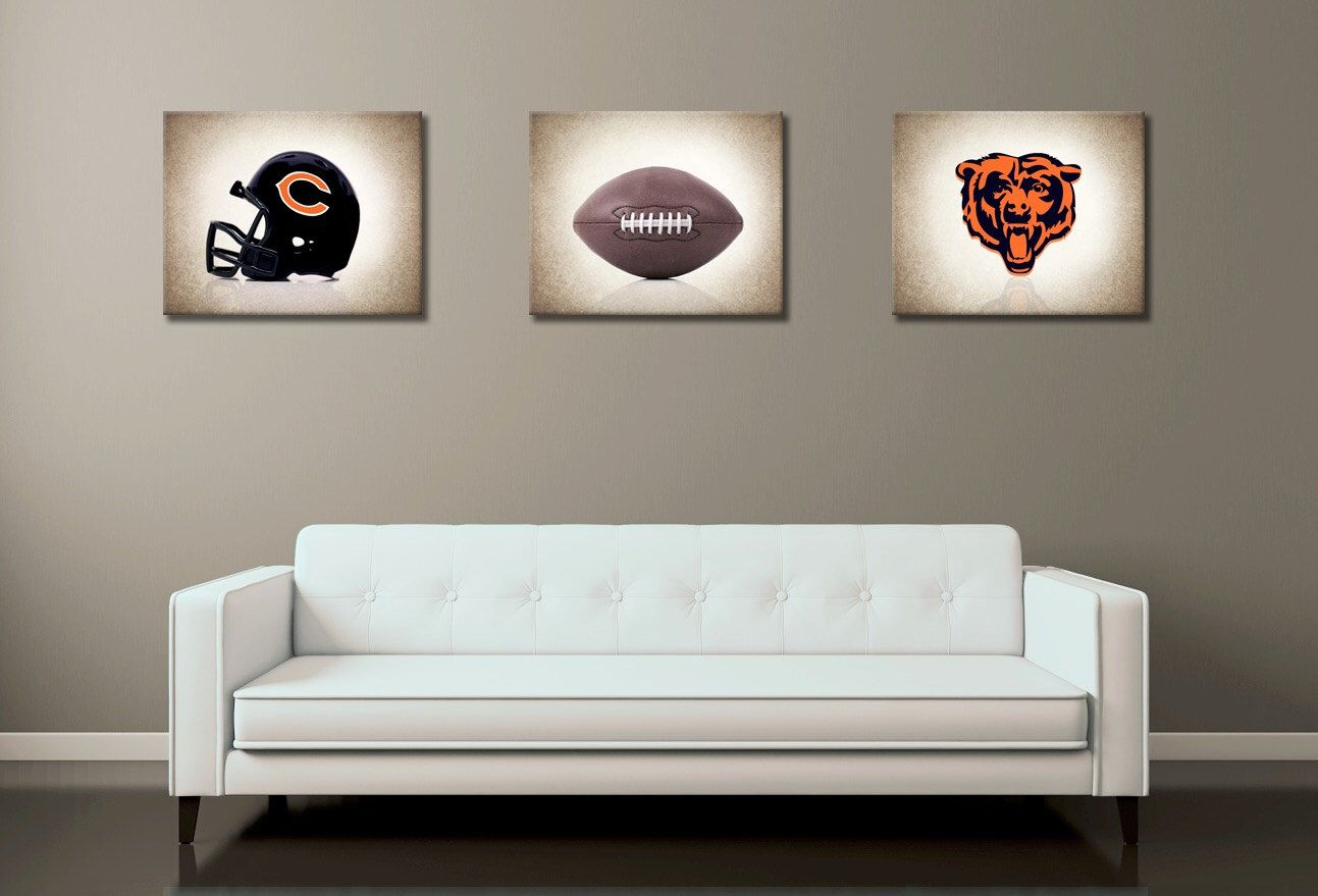 discount set of 3 chicago bears photo print boys room