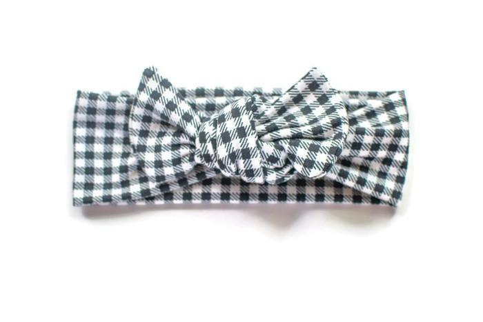 f4308a21224f9 Black & White Gingham Top Knot Headband | Products | Knot headband ...