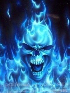 Blue Flame Tattoo Tattoos Skull Airbrush Art Head