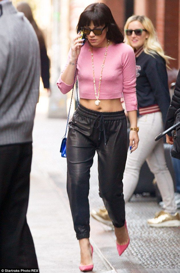 Lily Allen wearing Pink Cropped Sweater, Black Leather Pajama ...